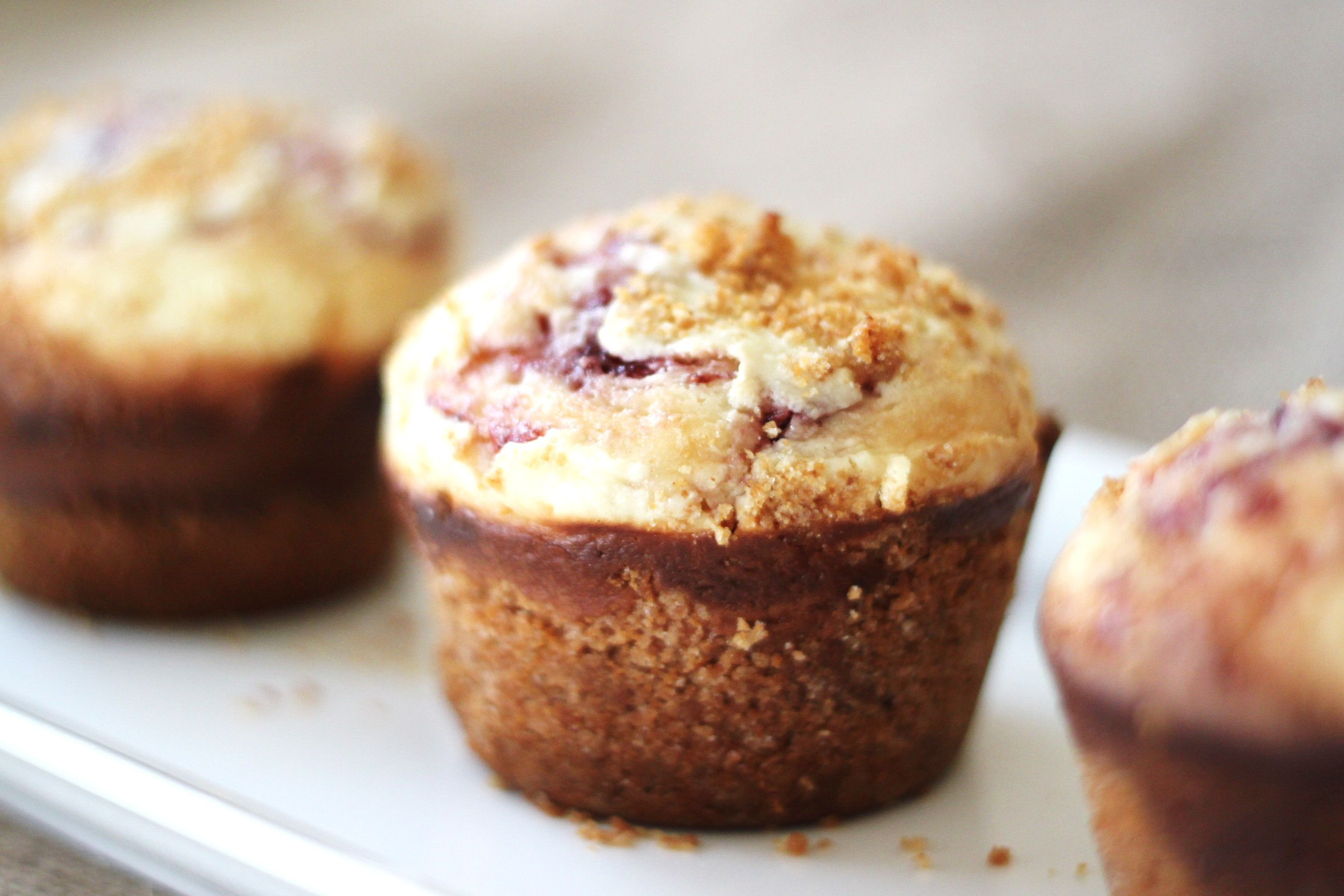 triple berry cheesecake muffins