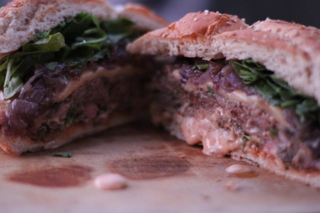 ground bacon burgers with smoked gouda and spicy aioli