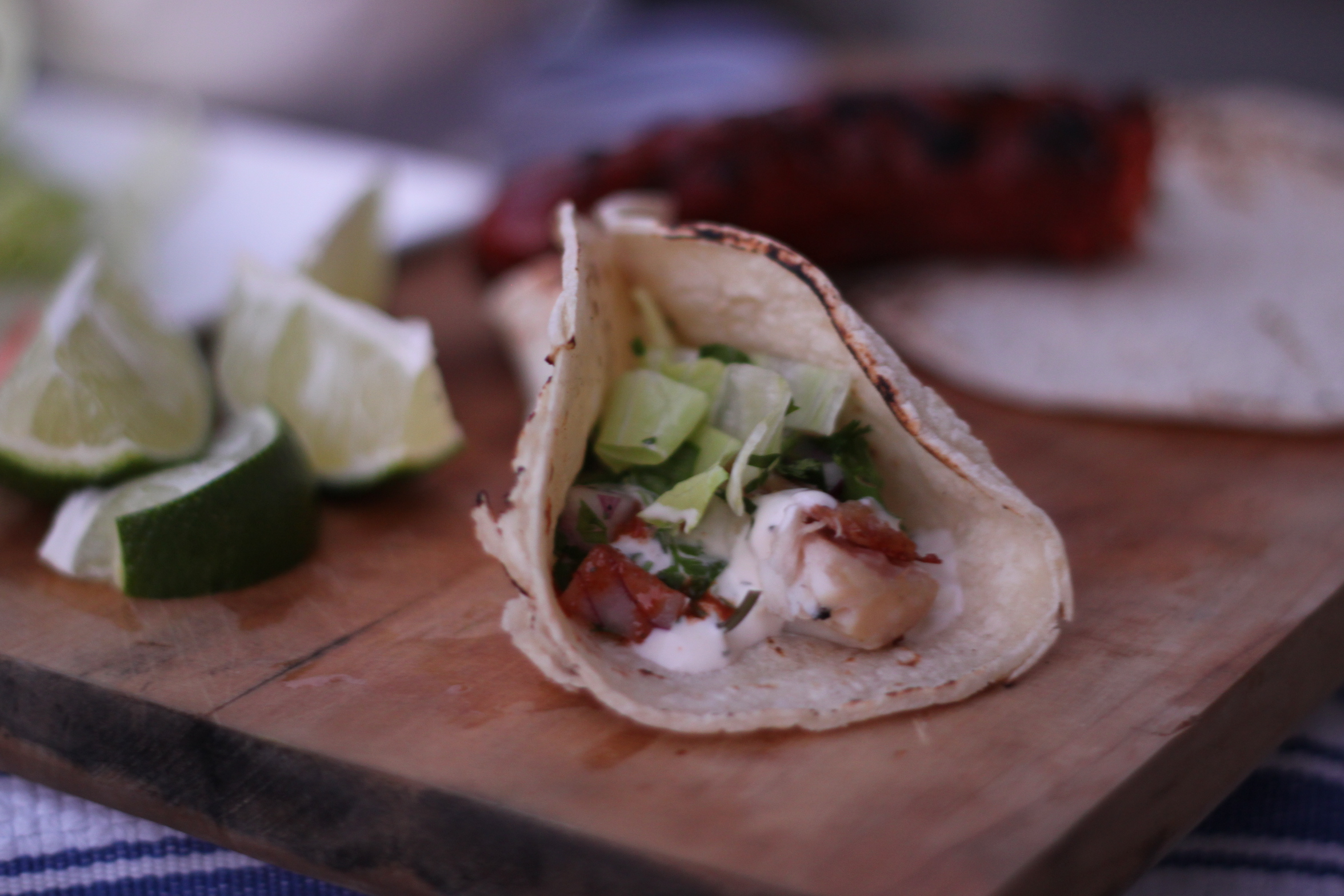 Dinner Last Night – Grilled Fish Tacos with Baja Dill Yogurt Sauce