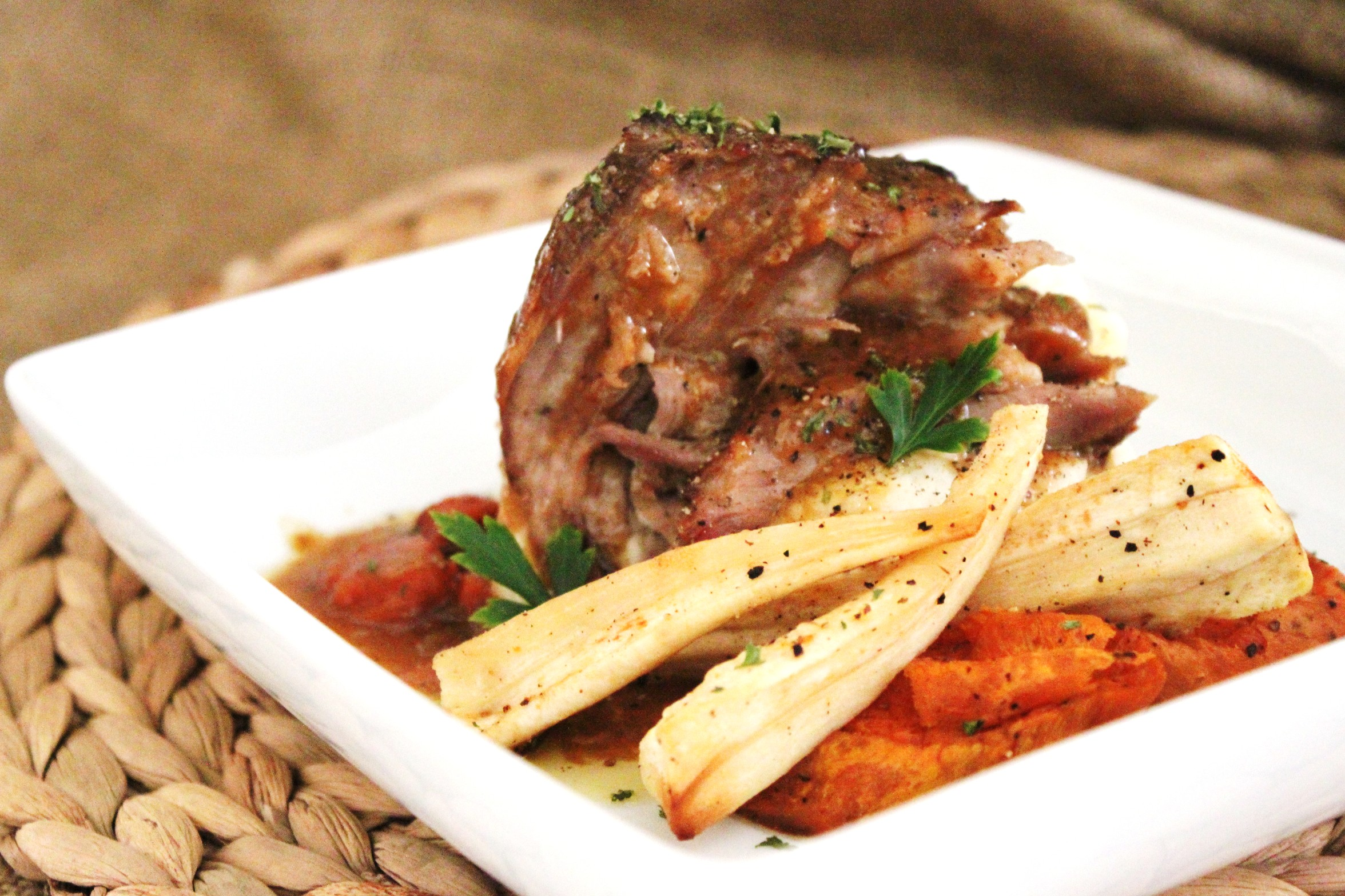 Sunday Supper – Braised Pork Shoulder with Roasted Root Vegetables