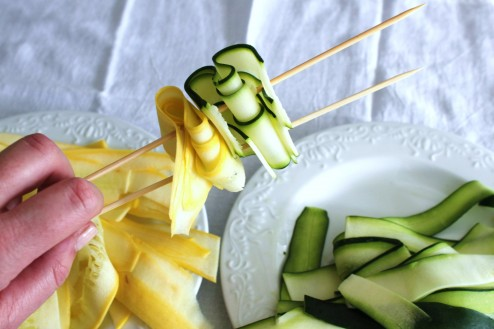 grilled zucchini and summer squash ribbons