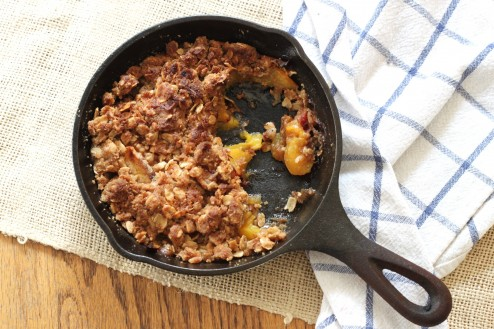 brown butter bourbon peach crumble
