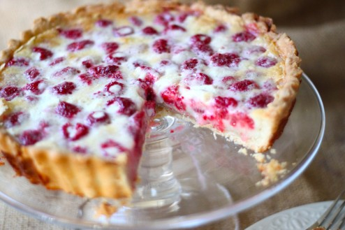 raspberry custard tart