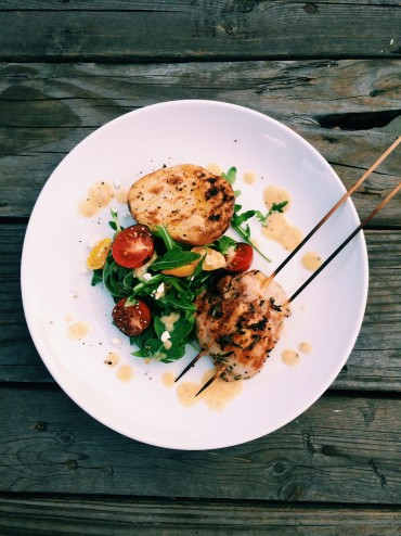 Grilled Lemon & Herb Chicken Skewers with Grilled Potatoes & Arugula Salad