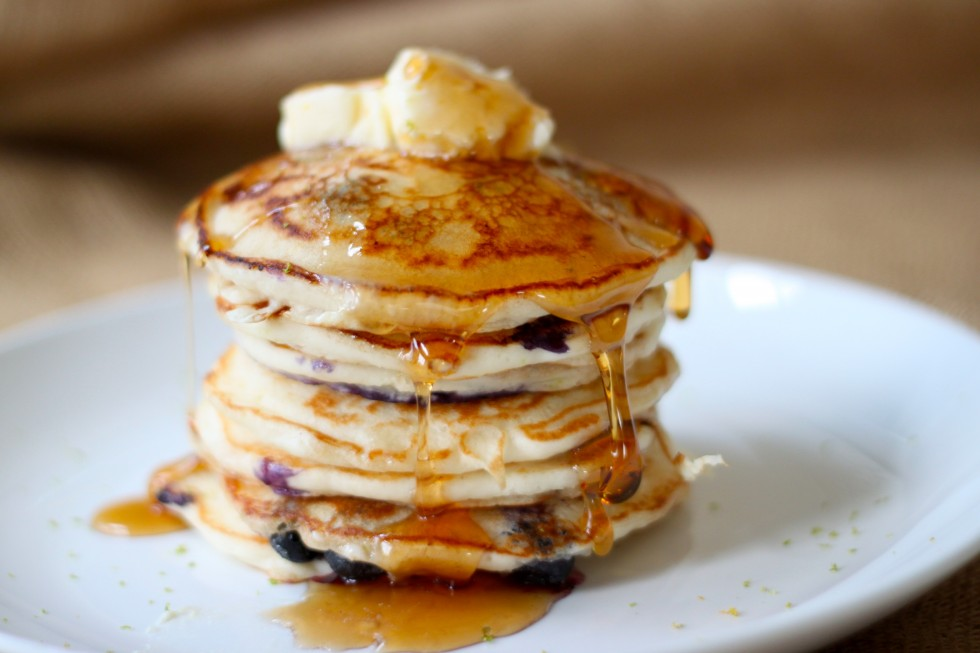 Easy Blueberry Lime Pancakes with Orange Bourbon Maple Butter