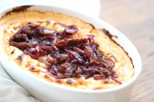 baked goat cheese & caramelized onion gratin
