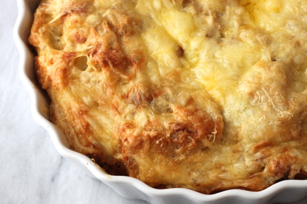 three cheese strata