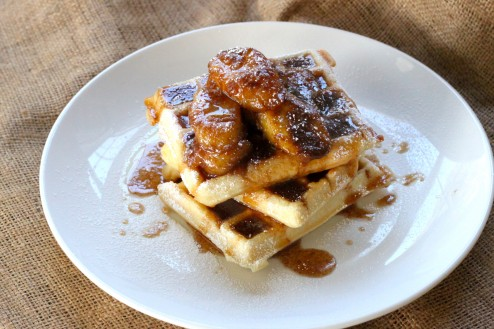 Easy Banana Bourbon Waffles