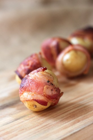 Bacon Wrapped Baby Yukon Potatoes with Horseradish & Garlic Aioli