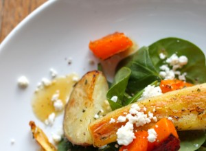 Roasted Root Vegetable, Feta & Spinach Salad