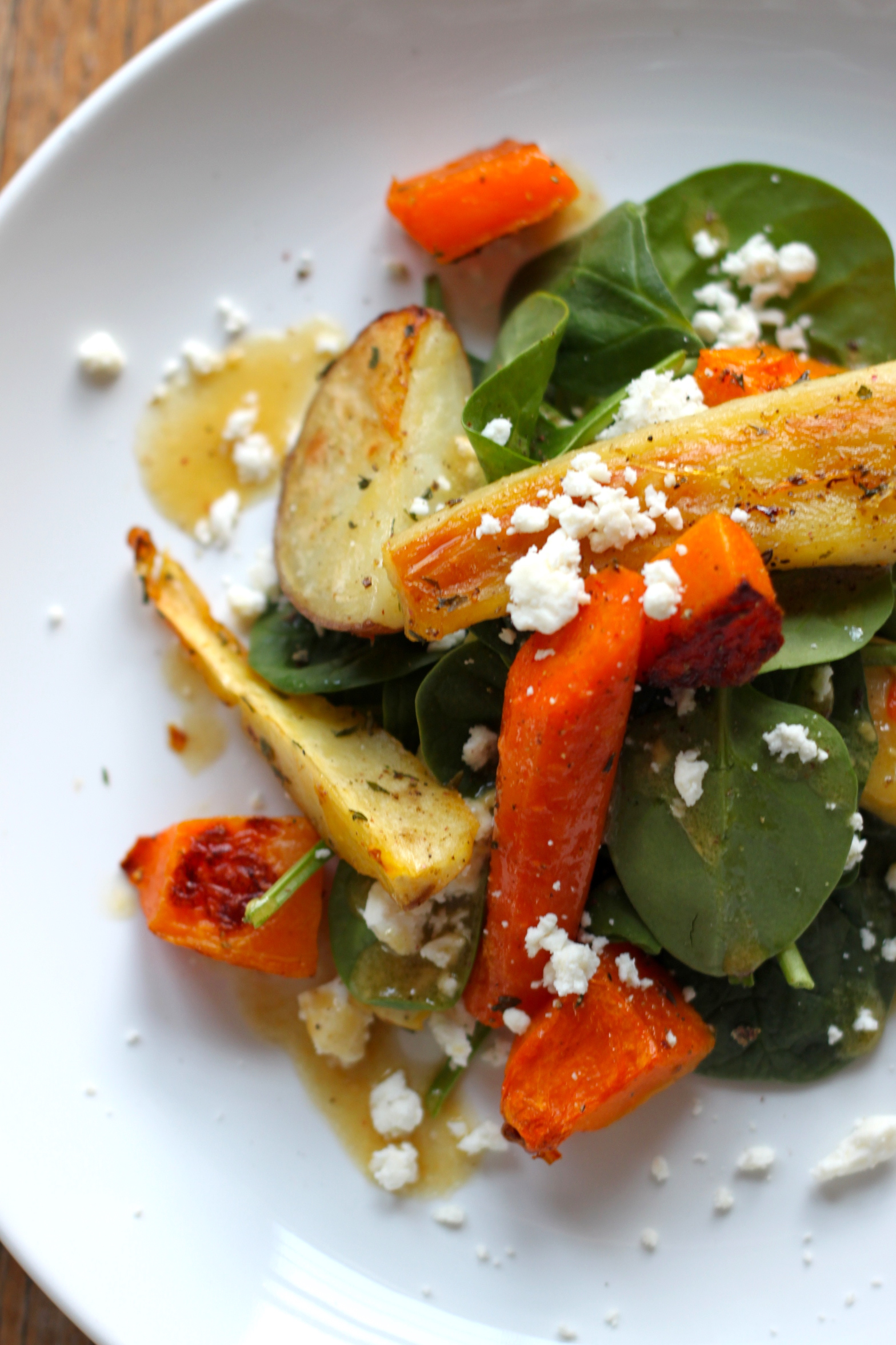 Roast Root Vegetable, Feta & Spinach Salad