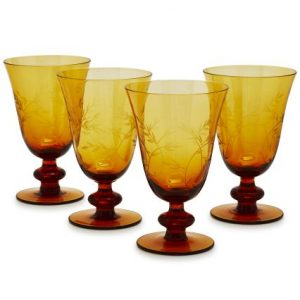 Amber Leaves Wine Glasses