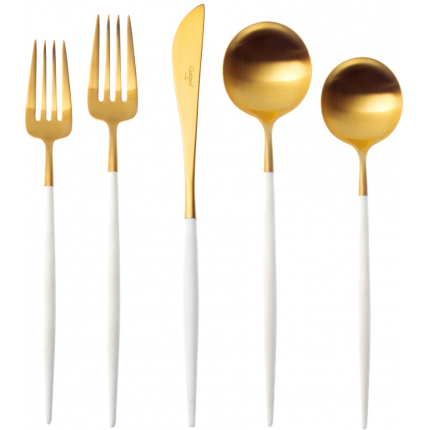gold white flatware